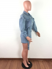 Turndwn Collar Long Sleeve Belt Denim Romper