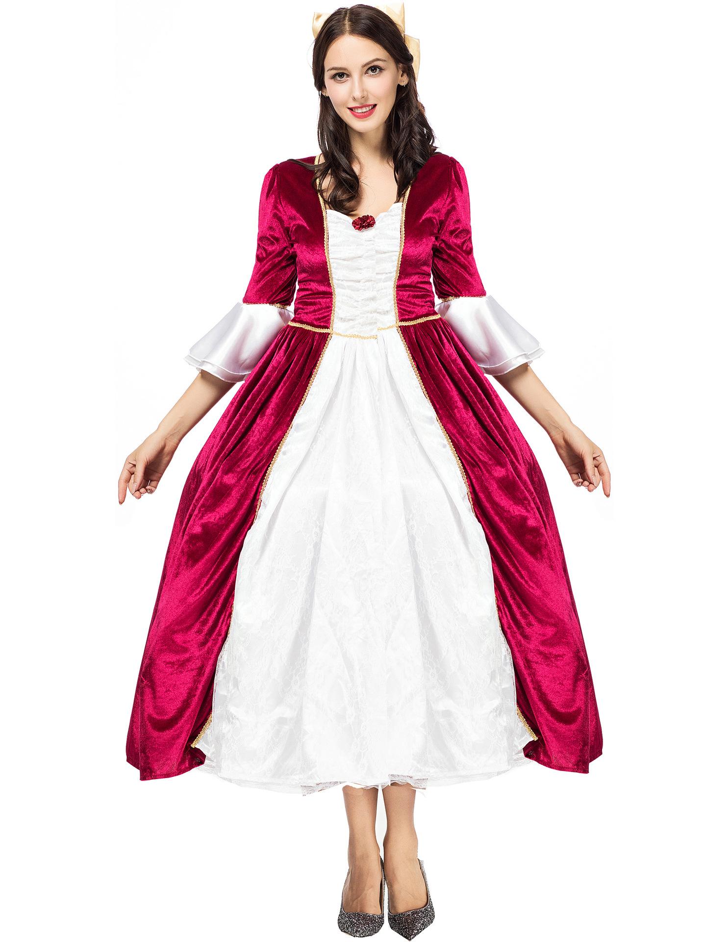 Contrast Color Bow Princess Maxi Dress Halloween Costumes