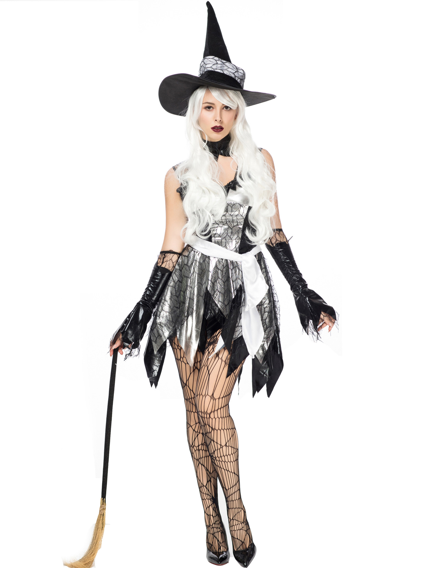 Hollow Out Gauze Dress Witch Costume For Halloween