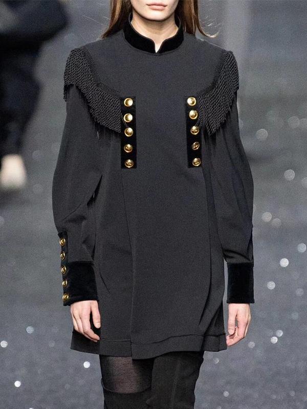 Boutique Stand Neck Buttons Tassel Decor Loose Ladies Dress