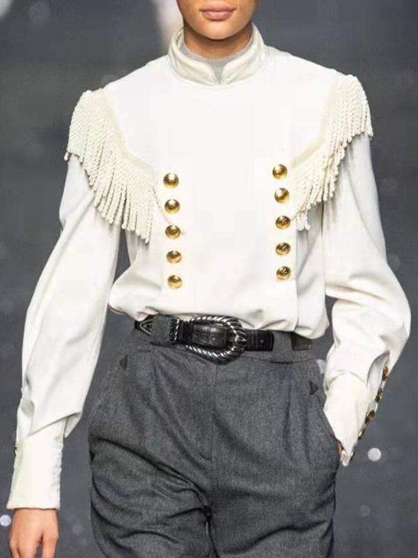 Elegant Stand Collar Button Decor Tassel Blouse