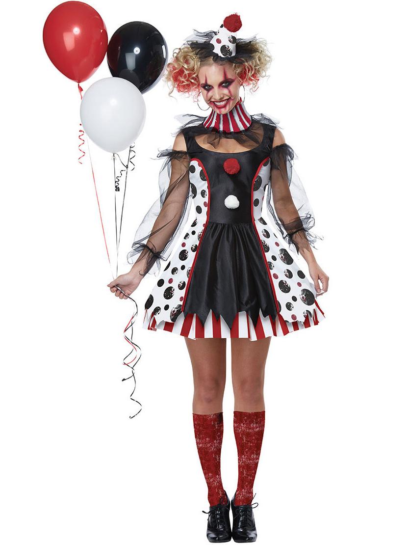 Halloween Clown Patchwork Transparent Performing Dress