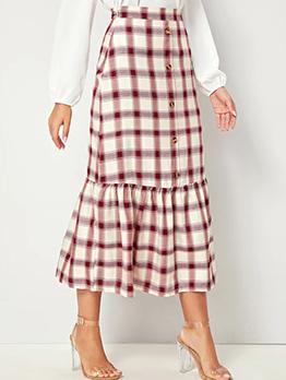 Easy Matching Plaid Button Midi Skirt