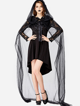 Halloween Tulle Cloak With Black Dress Vampire Costume
