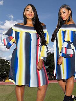 Contrast Color Off Shoulder Ruffled Sleeve Midi Dress