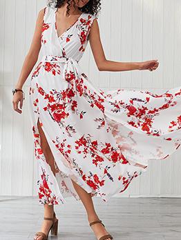 V Neck Floral Split Hem Sleeveless Tie Wrap Dress