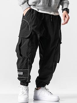 Drawstring Design Big Pockets Men Cargo Pants