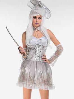 Halloween Cosplay Vampire Bride Patchwork Mini Dress