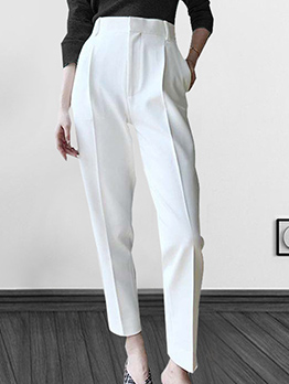 Chic Solid High Waisted Ladies Pants