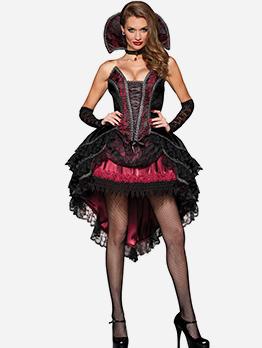 Halloween Spider Queen Patchwork Irregular Sleeveless Dress