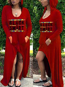 Letter Hooded Long Sleeve Irregular Maxi Dress