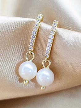 Elegant Zircon Pearl Decor Women Earrings