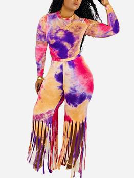 Tie Dye Long Sleeve Tassel 2 Piece Pants Set