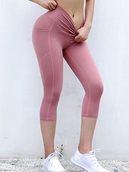 Solid High Waist Skinny Yoga Pants For Women