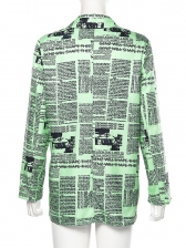 Individual Newspaper Printed Long Sleeve Casual Blazer