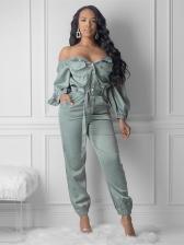 Solid Off Shoulder Long Sleeve Jumpsuits For Women