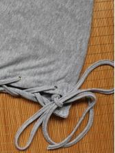 Casual Solid Side Bandage Long Sleeve Shirts