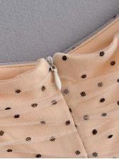 Square Neck Puff Sleeve Polka Dots Gauze Dress