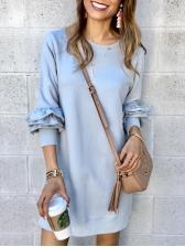 Ruffled Sleeve Solid Long Sleeve Casual Dress