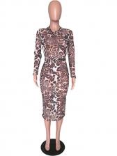 Leopard Printed Bodycon Midi Dress