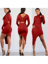 Irregular Solid Backless Bodycon Dress