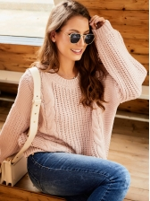 Crew Neck Hollow Out Long Sleeve Pullover Sweater