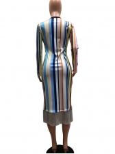 Colorful Striped Tassel Hem Casual Dress