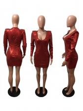Deep V Neck Long Sleeve Bodycon Sequin Dress