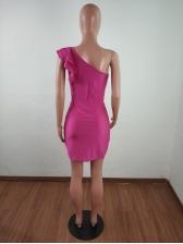 One Shoulder Ruffled Sleeveless Bodycon Dress