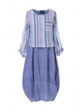 Striped Patchwork Large Hem Plus Size Maxi Dress