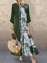 Vintage Style Printed Large Hem Maxi Dress