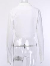 Solid Turndown Collar Long Sleeve Short Womens Coat
