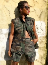 Sleeveless Camouflage Two Piece Short Sets