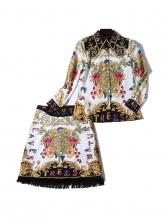 Vintage Printed Tassel Skirt And Top Co-ord