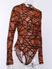 Crew Neck Printed Perspective Long Sleeve Bodysuit