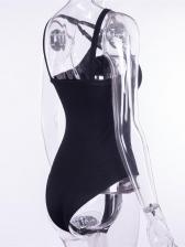 Pentagram Strap Detail Sleeveless Black Bodysuit