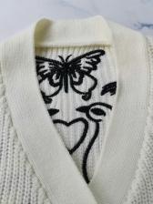 Stylish Embroidery v Neck Cardigans For Women