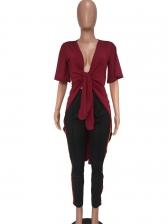 Solid Twist Short Sleeve Swallowtail Ladies Blouse