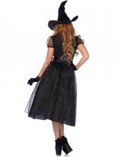 Halloween Patchwork Witch Short Sleeve Black Dress