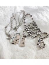 Hip Pop Letter Square Pattern Pendant Necklace