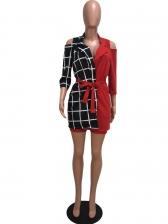 Contrast Color Plaid Cold Shoulder 2 Piece Outfits