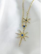 Elegant Star Pattern Rhinestone Pendant Necklace