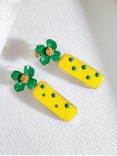 Cute Flower Patchwork Dots Printed Earrings