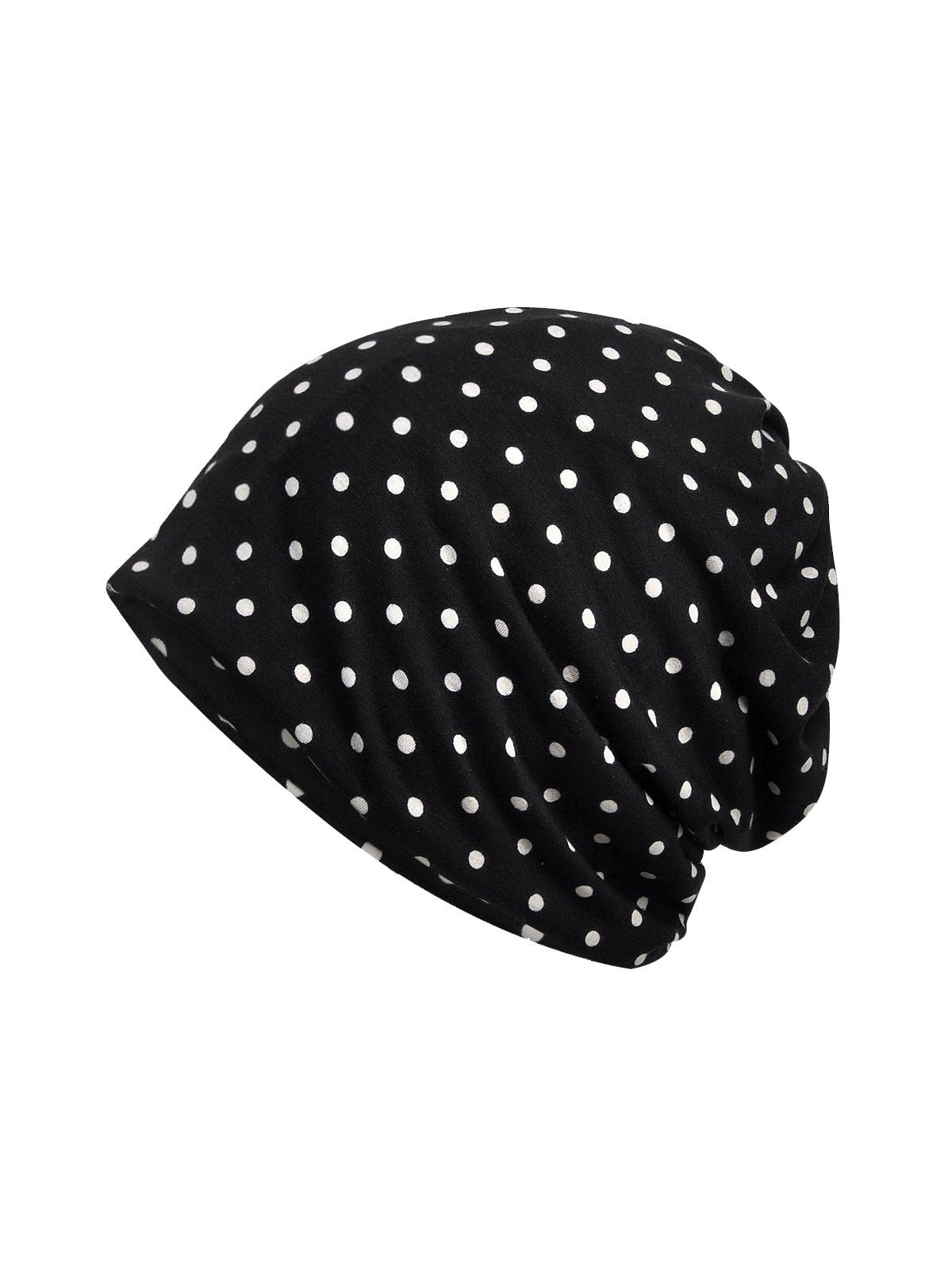 Hat And Neck Dual-Purpose Polka Dot Beanie Cap