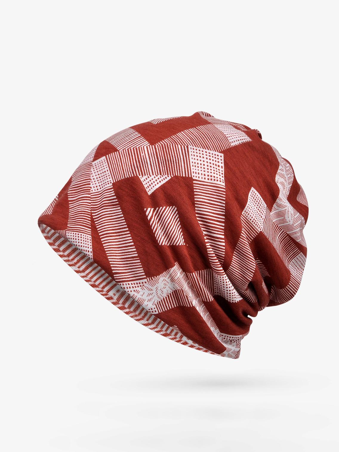 Hat And Neck Dual-Purpose Geometric Printed Beanie Cap
