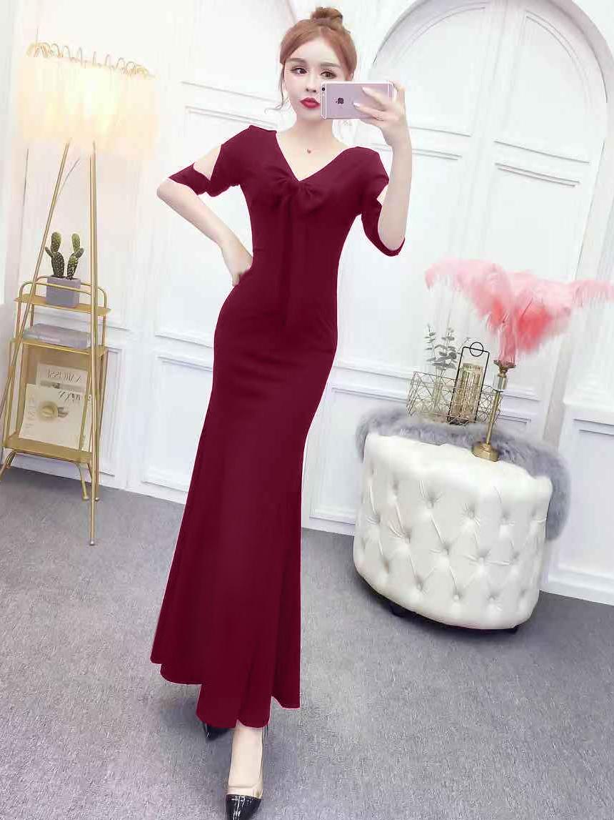 Elegant Fishtail Maxi Front Bowknot Party Dresses