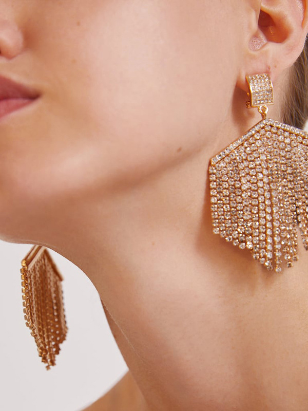 Diamond Rhinestone Decor Earrings For Women