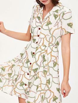 Chain Printed Short Sleeve Shirt Dress