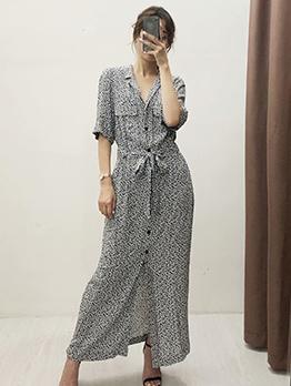 Lapel Collar Tie-Wrap Floral Maxi Dress