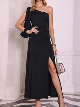 Inclined Shoulder Split Hem Single Sleeve Maxi Dress